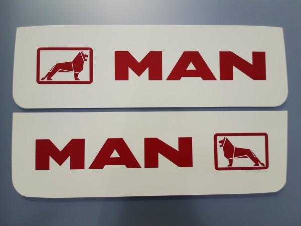 Spatlappen voorkant 18x60cm MAN wit rood set van 2