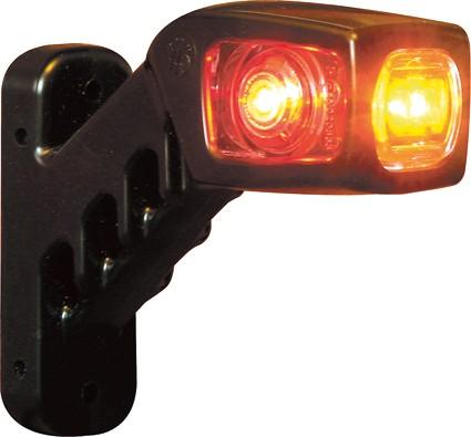 Led breedtelamp rood/wit/oranje 12-24V Haaks 130MM Links