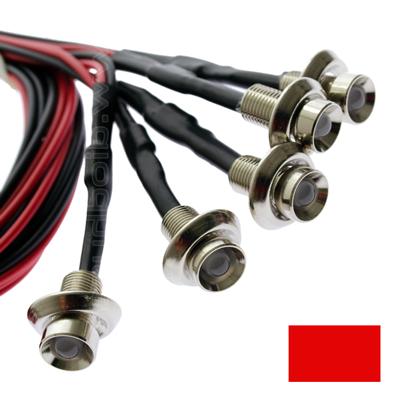 Inbouw LED rood - chrome - 5 stuks