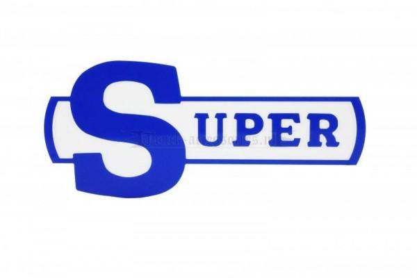 Kunststof embleem Super badge blauw-wit