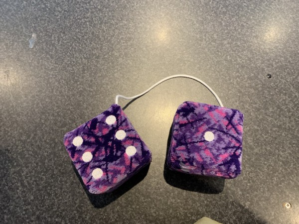 Danish fabric purple dice