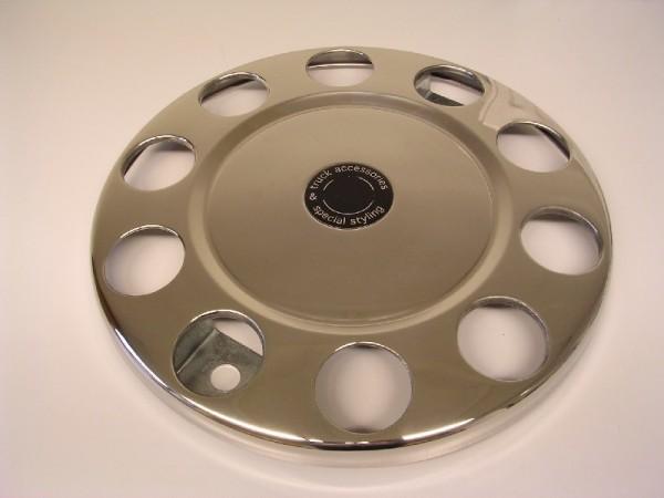 "Wheelnut Protector Ring 22.5"" Closed Center with circle - Aluminium Trims"