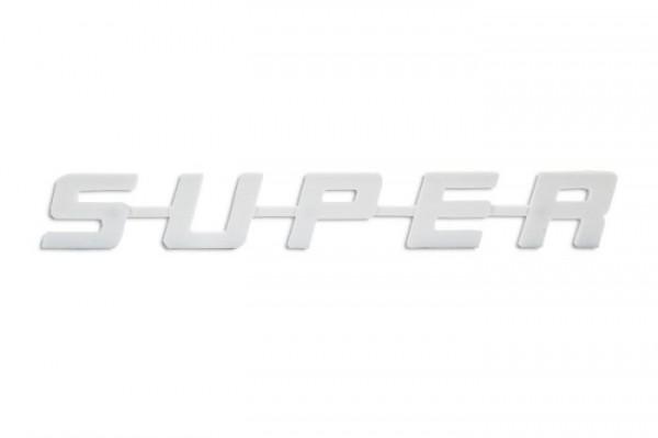 SUPER logo kunststof - wit